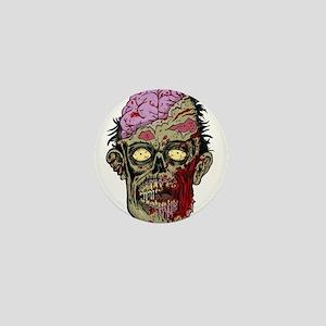 GREEN ZOMBIE HEAD WITH BRAINS--ROTTEN!! Mini Butto