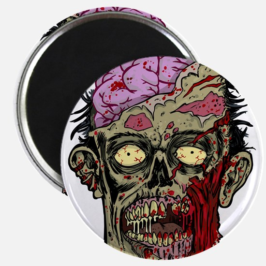 GREEN ZOMBIE HEAD WITH BRAINS--ROTTEN!! Magnet