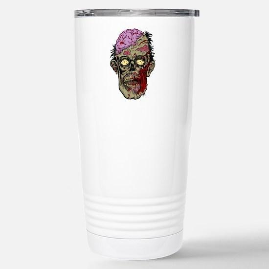 GREEN ZOMBIE HEAD WITH BRAINS--ROTTEN!! Travel Mug