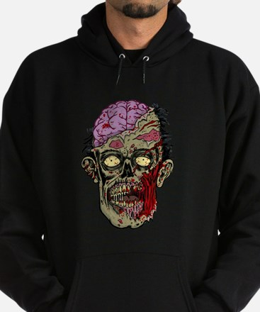 GREEN ZOMBIE HEAD WITH BRAINS--ROTTEN!! Hoody