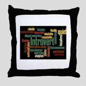 Introvert Strengths Word Cloud 3 Throw Pillow