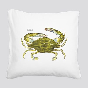 Blue Crab Square Canvas Pillow