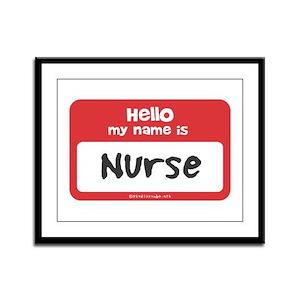 Nurse Name Tag Framed Panel Print