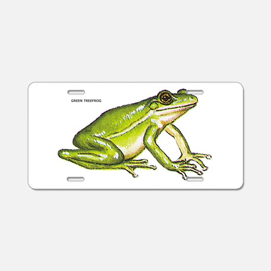 Green Treefrog Frog Aluminum License Plate