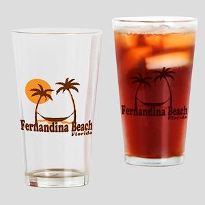 Fernandina Beach - Palm Trees Design. Drinking Gla