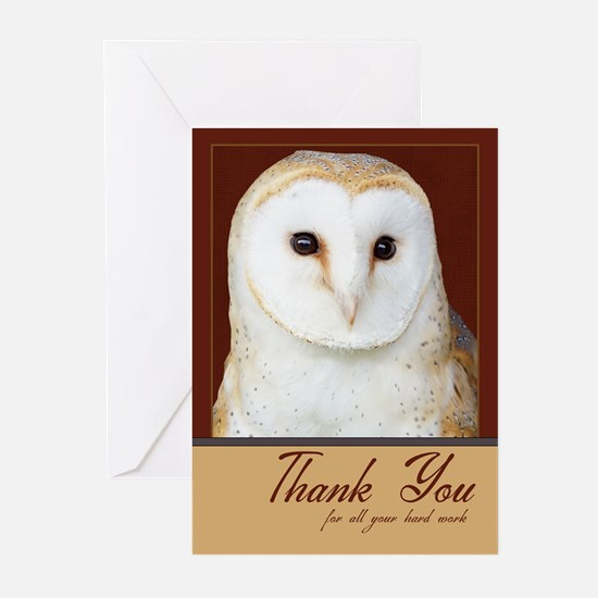 Owl Thank You Business Greeting Card (Pk of 20)