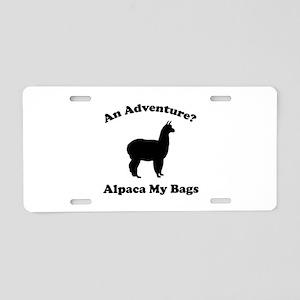 An Adventure? Alpaca My Bags Aluminum License Plat