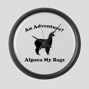 An Adventure? Alpaca My Bags Large Wall Clock