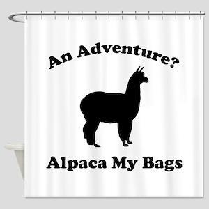 An Adventure? Alpaca My Bags Shower Curtain