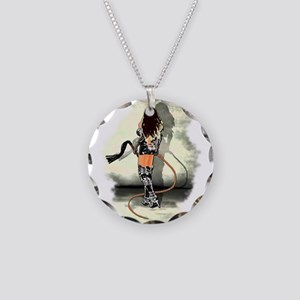 Bullwhip Mistress Necklace Circle Charm
