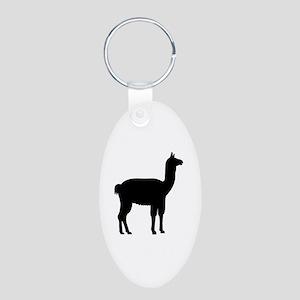Llama Aluminum Oval Keychain