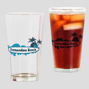 Fernandina Beach - Surf Design. Drinking Glass