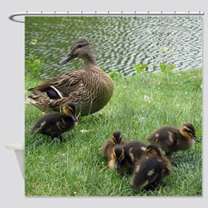 Duck mom and Ducklings Shower Curtain