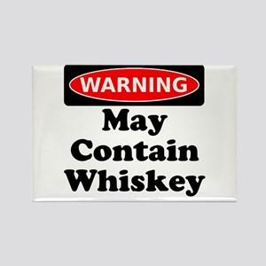 Warning May Contain Whiskey Rectangle Magnet