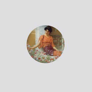 Greek Girl with Summer Flowers Mini Button