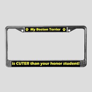 Honor Student Boston Terrier License Plate Frame