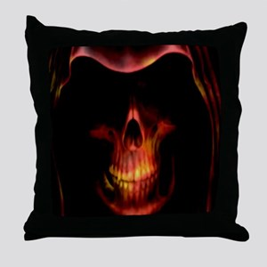 Glowing red grim reaper Throw Pillow