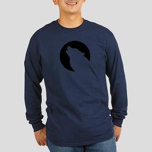Wolf moon night Long Sleeve Dark T-Shirt