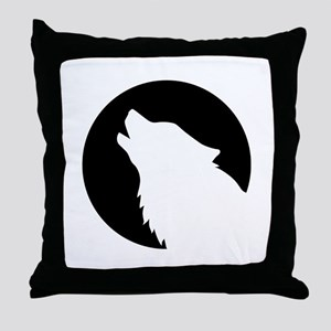 Wolf moon night Throw Pillow