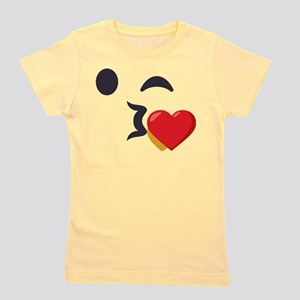 Winky Kiss Emoji Face Girl's Tee