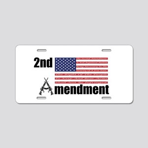 2nd Amendment AR Rifles A and Flag Aluminum Licens