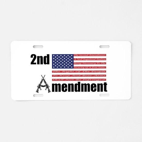 2nd Amendment AR Rifles A and Flag Aluminum Licens