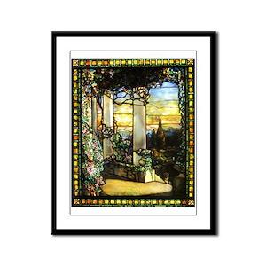 Greek Temple Garden Framed Panel Print
