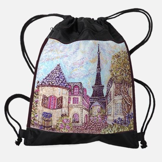 Paris Eiffel Tower inspired pointil Drawstring Bag