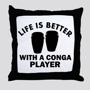 Conga Player designs Throw Pillow