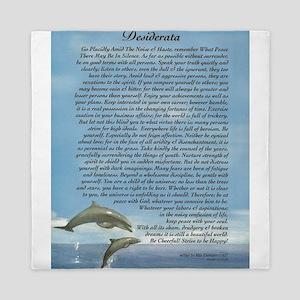 DESIDERATA Poem Dolphins Queen Duvet