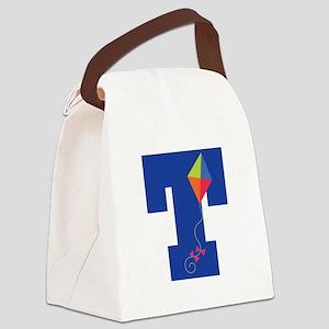 Letter T Kite Monogram Initial T Canvas Lunch Bag