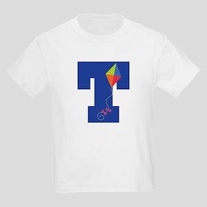 Letter T Kite Monogram Initial T Kids Light T-Shir
