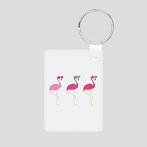 Cool Flamingos Aluminum Photo Keychain