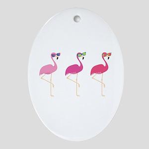 Cool Flamingos Ornament (Oval)