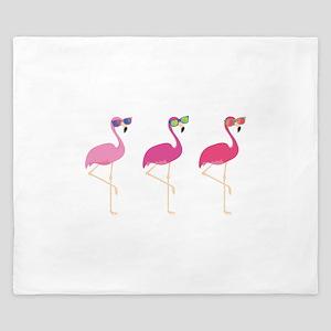 Cool Flamingos King Duvet