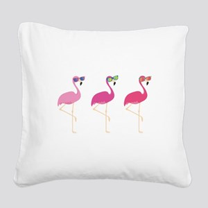 Cool Flamingos Square Canvas Pillow