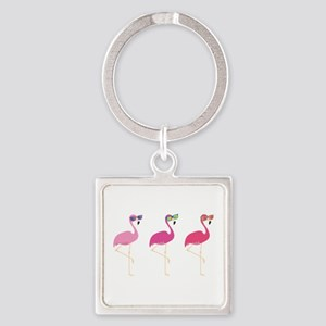 Cool Flamingos Square Keychain