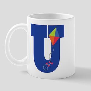 Letter U Kite Monogram Initial U Mug