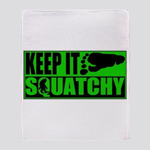 Keep it Squatchy green Throw Blanket