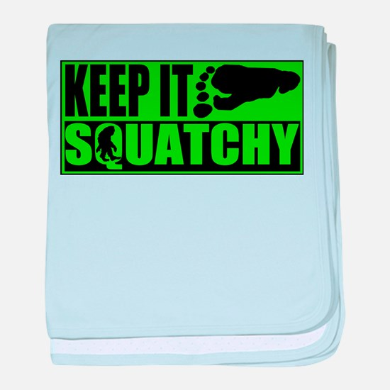 Keep it Squatchy green baby blanket