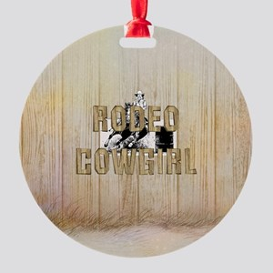 Rodeo Cowgirl Round Ornament