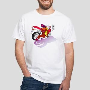 Biker Duck Chick White T-Shirt
