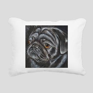 pugblackacrylicsq Rectangular Canvas Pillow