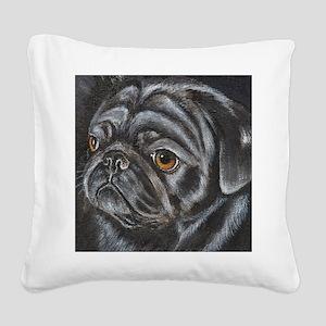 pugblackacrylicsq Square Canvas Pillow