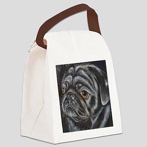 pugblackacrylicsq Canvas Lunch Bag