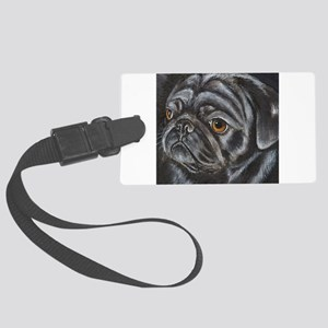 pugblackacrylicsq Large Luggage Tag