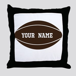 Personalized Rugby Ball Throw Pillow