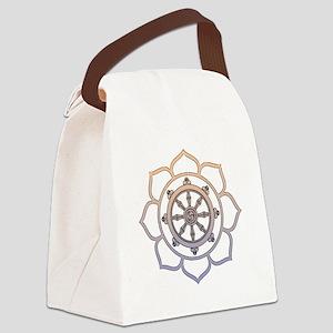 DharmaWheelLotusFlower Canvas Lunch Bag