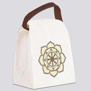 DharmaWheelLotusFlower-Quote Canvas Lunch Bag