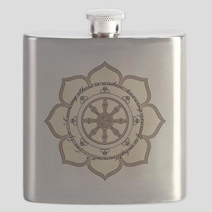 DharmaWheelLotusFlower-Quote Flask